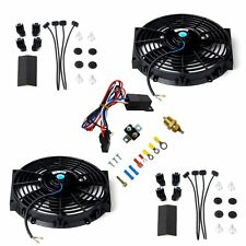 """2X 10"""" Electric Radiator Cooling Fan w/ Thermostat Relay & Mounting Kit Black"""