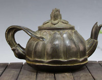 China Old bronze Lotus flower Carved flower Teapot