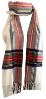 New Winter Womens Mens 100% Cashmere Wool Wrap Scarf Plaid Scarves White (#18)