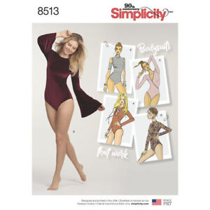 Simplicity Sewing Pattern 8513 Misses 6-24 Knit Bodysuits Leotards 5 Styles