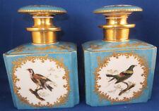 Antique 19thC Feuillet Pair Porcelain Perfume Dresser Bottle s Porzellan Flakon