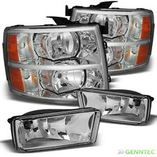 For 07-13 Silverado Chrome Headlights + Clr Fog Light Front Lamps Combo