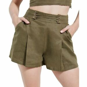 GUESS NEW Women's Nydia Linen Lace-up Pleated Khakis & Chinos Shorts TEDO