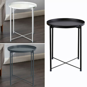 Metal Tray Coffee Table Small Round Side Table Sofa End Tea Table Bedside Table