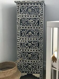 Bone Inlay Furniture Black And White Floral Design Chest of 6 Drawers Tallboy