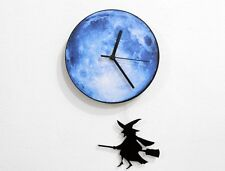 Halloween Witch Swinging on the Moon - Pendulum Wall Clock