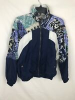 Nike Rare Vtg 90s Womens Sz M Windbreaker Colorblock Print Jacket Blue White
