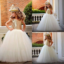 Flower Girl Dress Gold Sequins Floor Length Special Occasion Birthday Prom Gown