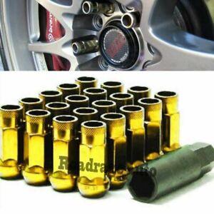 For Honda Toyota Acura Lexus Gold 12X1.5mm Wheel Rim Racing Lug Nuts Bolts x20