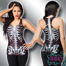 13728 Sexy Glanz Tanktop 34-38 Skelett Knochen Bones Halloween Print TOP 7