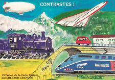 GRANGES-LES-VALENCE 1999 15 ème salon carte postale avion train tgv dirigeable