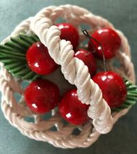 VIntage Ceramic Basket Fruit/Cherry/Pear Ceramiche Lanzarin Fatto A Mano Italy