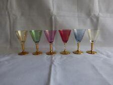 6 verres à liqueur colorés et dorures,vintage (2)
