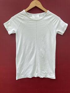 Athleta Top XS Foothill Mesh Tee Mint Green Short Sleeve Laser Cut Workout Shirt