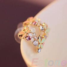 Cute Butterfly Flowers Women Lady Charm Crystal Rhinestone Ear Stud Earring