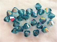 12 Indicolite AB Swarovski Crystal Beads Bicone 5328 6mm