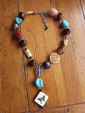 CHICO'S Silvertone Chunky Necklace Faux Turquoise Stones Butterfly