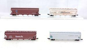 4 N Scale Center Flow Hopper Car 3 Bachmann, 1 Atlas, 1 Weathered