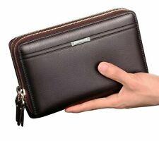 Men Wallet Coin Pocket Zipper Purse Clutch Business Double Zipper Vintage Large