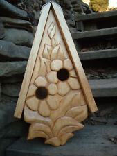Unique Flowering Bird House Rustic Hand Carved Flowers Wood Spirit 16""