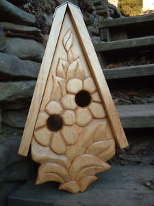 """Unique Flowering Bird House Rustic Hand Carved Flowers Wood Spirit 16"""""""
