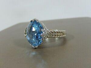 JUDITH RIPKA 925 STERLING SILVER TAPESTRY CUT 16mm BLUE TOPAZ DIAMONIQUE RING S8