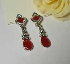 Vintage Style Red and Diamante Teardrop Dangly Clip On Earrings