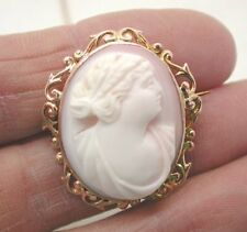 Beautiful Antique 9ct Gold Mounted Coral Cameo Brooch