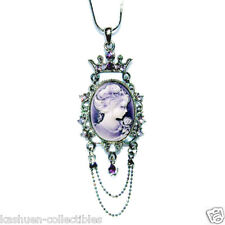 Purple CAMEO made with Swarovski Crystal Victorian Style Princess Crown Necklace
