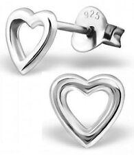 PAIR OF STERLING SILVER 925 SMALL OPEN HEART EARRINGS / EAR POSTS / STUDS, 6 MM