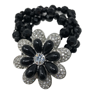 Lia Sophia Black Beaded Stretch Bracelet Clear Silver Tone Crystal Flower