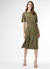 Dorothy Perkins Womens Green Gold Foil Printed Dress Knee-Long Fit & Flare