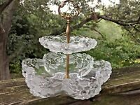French Provincial 10/10 Tiered Serving Tray Cut Glass ART NOUVEAU Antique ❤️j8