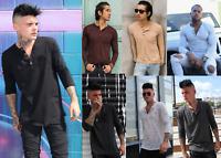 Mens Henley Shirt Long Sleeve Shirt Soft Cotton T-shirts Pullover Outdoor shirt