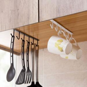 New Under-Cabinet Hanger Rack with 6 Hooks Kitchen Storage Cupboard Shelf Hook