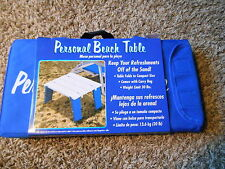 NEW Personal Beach Table Fold Up Portable Carrying Bag Blue & White Camping
