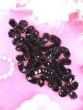 "XR352 Sequin Applique Black Beaded Bridal Patch 6"""
