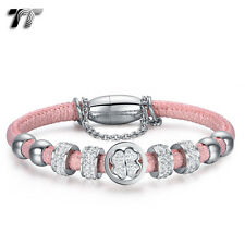 TT Silver S.Steel Swarovski Crystal Beaded Bracelet Pink (BR217BS) NE