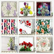 "Floral Art Flower Waterproof Fabric & 12 Hooks Bathroom Shower Curtain 71"" / 79"""