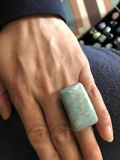 Adjustable Beautiful Huge Gemstone Ring Ruby Fuchsite