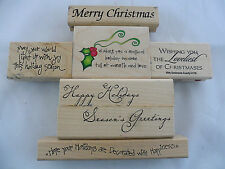 Christmas Holiday Rubber Stamp Lot Of 7 Craft Set Scrapbooking