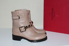 New sz 6 / 36 Valentino Tan Beige Leather Biker Moto with Studs Ankle Boot Shoes