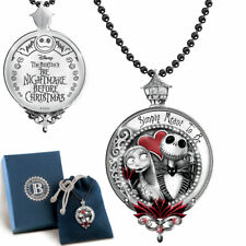 The Nightmare Before Christmas Jack And Sally Engraved Pendant Necklace