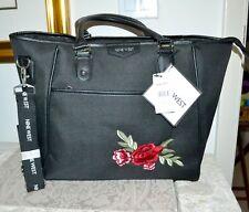 NWT $200 NINE WEST *Checkin* Nylon Basic Tote Bag Handbag Black Embroidered Rose