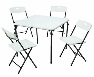 Mainstays Resin Plastic Card Table and Four Chairs Set 5 Piece, White, Black