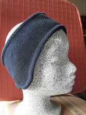 Fleecy ski headband/ear warmers with stretch back - navy blue