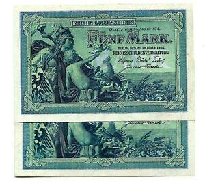 Germany (P8a) 5 Mark 1904 x 2 Consecutive UNC