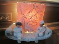 Vintage TV Lamp Asian Figurines on Ship  Nice made in Japan Mid Century