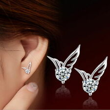 New Sterling Silver Angel Wings Women Fashion Stud Ear Earrings Jewelry Crystal