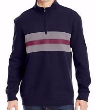 Men's IZOD Faux Sueded Fleece 1/4 Zip Pullover Midnight Mock Neck Sweater Large